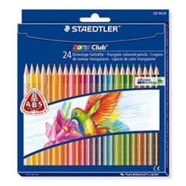 Staedtler 127 NC24 Buntstifte Noris Club (erhöhte Bruchfestigkeit, dreikant, Set mit 24 brillanten Farben, ABS-System, kindgerecht nach DIN EN71, umweltfreundliches PEFC-Holz, Made in Germany) -