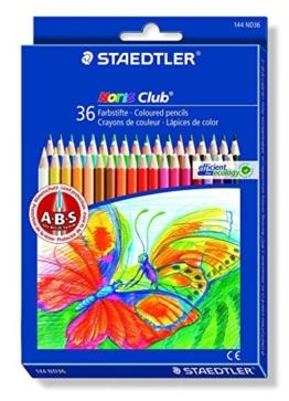 Staedtler 144 ND36 Buntstifte Noris Club (erhöhte Bruchfestigkeit, sechskant, Set mit 36 brillanten Farben, ABS-System, kindgerecht nach DIN EN71, umweltfreundliches PEFC-Holz, Made in Germany) -