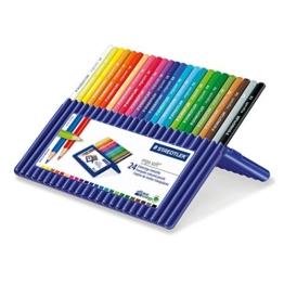 Staedtler 157 SB24 Buntstifte ergo soft (erhöhte Bruchfestigkeit, dreikant, Set mit 24 brillanten Farben, ABS-System, rutschfeste Soft-Oberfläche, kindgerecht nach DIN EN71, FSC-Holz, Made in Germany) -