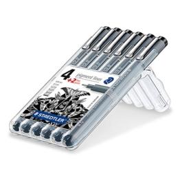 Staedtler 308 SB6P Fineliner pigment liner Set (mit 6 Linienbreiten, hohe Qualität Made in Germany, Pigmenttinte, dokumentenecht, lichtbeständig) schwarz -