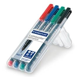 Staedtler 318 WP4 Feinschreiber Universalstift Lumocolor permanent, Staedtler Box mit 4 Farben -