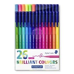 Staedtler 323 TB26 Fasermaler Triplus Color circa 1.0 mm, Set mit 26 verschiedenen Farben in Klarfaltbox -