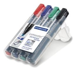 Staedtler 350 WP4 Permanentmarker Lumocolor , nachfüllbar, Staedtler Box mit 4 Farben -