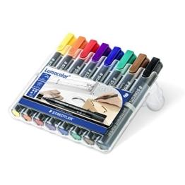Staedtler 350 WP8 Lumocolor permanent marker Keilspitze, 2 mm oder 5 mm, aufstellbare Box mit 8 farben -