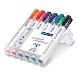 Staedtler 351 WP6 Whiteboard-Marker Lumocolor (Rundspitze ca. 2 mm Linienbreite, Set mit 6 Farben, hohe Qualität Made in Germany, trocken und rückstandsfrei abwischbar von Whiteboards) -