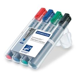 Staedtler 356 WP4 Lumocolor flipchart marker, 4 Stück in aufstellbarer Staedtler Box, farblich sortiert -