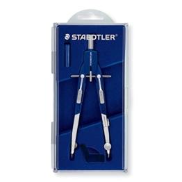 Staedtler Mars Comfort Zirkel, Schnellverstellzirkel mit Drucktasten, Etui mit Klappdeckel, blau-silber, 552 01 -