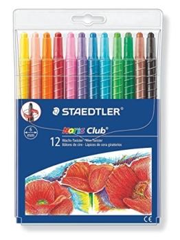 Staedtler Noris Club Wachs-Twister, Wachs-Malstifte, Set mit 12 brillante Farben, 221 NWP12 -