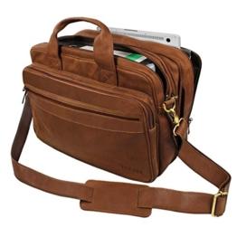 STILORD Umhängetasche Herren Ledertasche Aktentasche Schultertasche Lehrertasche Notebooktasche Laptoptasche Unitasche Collegetasche echtes Büffel-Leder braun -