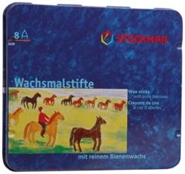 Stockmar 204884208 Wachsmalstifte (8 Stifte, wasserfest, papergewickelt, aus Bienenwachs, im Blechetui) -
