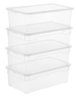 Sundis Rotho 3343094094 4-er Set Clear Box Lady Shoe 5 l, Aufbewahrungsbox mit Deckel, QR-Code AppMyBox, transparent, stapelbar, Kunststoff/Plastik (PP) -