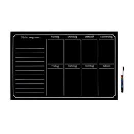 Tafelfolie Wochenplaner Wandtattoo, 35 x 55 cm, schwarz, selbstklebend + Kreidemarker zum Beschriften -