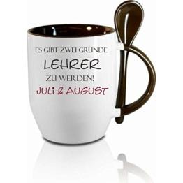 """Tasse m. Löffel"""" Es gibt zwei Gründe Lehrer zu werden... """" Löffeltasse, Kaffeetasse mit Motiv,Bürotasse, bedruckte Tasse mit Sprüchen oder Bildern - auch individuelle Gestaltung nach Kundenwunsch -"""