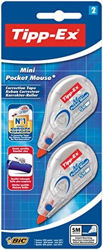 Tipp-Ex Korrekturroller Mini Pocket Mouse, 5 m x 5 mm, Blister à 2 Stück, weiß -