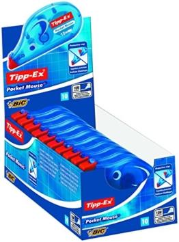Tipp-Ex Korrekturroller Pocket Mouse, mit Bandschutzkappe, 10 m x 4.2 mm, Displaybox à 10 Stück -