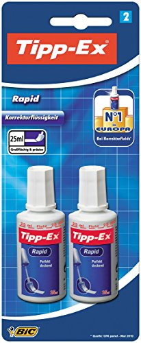 Tipp-Ex Rapid Korrekturfluid, mit Auftragsschwämmchen, Flasche à 25 ml, Blister à2 Stück, weiß -