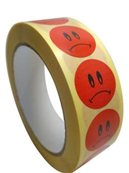 Trauriges Gesicht Sticker Smiley Aufkleber Rund 25mm auf einer Rolle mit 1.000 Stück -