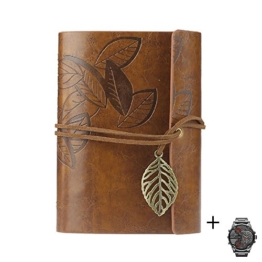 Ukamshop retro Blatt Lederbezug Buch leeres Notizbuch Zeitschrift Tagebuch Journalbuch Tagebuch braun -