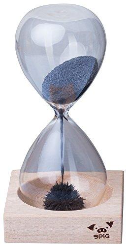 VENKON - Kreative Magnet Sanduhr aus mundgeblasenem Glas mit magnetischem Holzständer - Laufdauer: ca. 30 sek. -