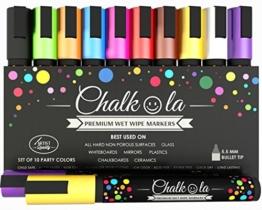 VERKAUF - Kreidemarker - 10er Pack neonfarbene Markerstifte. Für Whiteboard, Kreidetafel, Fenster, Tafel, Bistros - 6mm Kugelspitze mit 8 Gramm Tinte -