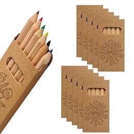 WPRO Kids Buntstifte im 10-er Set | Ideal als Geschenk Mitgebsel für Kindergeburtstag - Jungen & Mädchen, fünfeckig in 6 Farben Malstifte -