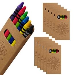 WPRO Kids Wachsmalstifte 10-er Set | Gastgeschenk Kindergeburtstag Mitgebsel | Crayons in 6 Farben | Stifte für Jungen & Mädchen braun -