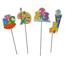 12 Stk. Schulanfang Deko mit Stiel - Schuleinführung - Geschenktüte klein Dekoration Zuckertüte Deko für Schulanfangs Tischdeko -