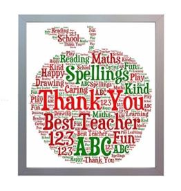 """Gerahmtes Bild für Lehrer, Aufschrift """"Thank You School Teacher&quo... -"""