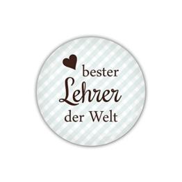 "lijelove Buttons, 04-023G, ""Vichy"" bester Lehrer der Welt, blau, hellblau, 38 mm -"