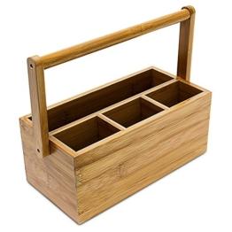 Relaxdays Schreibtischorganizer aus Bambus H x B x T: ca. 20 x 25 x 11,5 cm Stiftehalter mit 4 Fächern und Henkel zum Tragen als Aufbewahrungsbox und Schreibtischbutler Stiftebox aus Holz, natur -