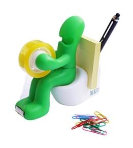 The Butt' Bürobedarf Station Klebefilmabroller Schreibtisch Zubehörhalter mit Rolle Klebeband und Büroklammern (grün) -